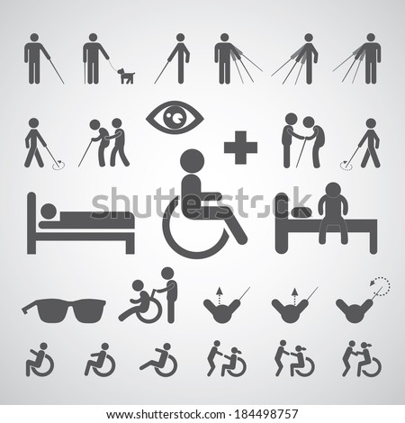 patient blind disabled and old man symbol for hospital  - stock vector