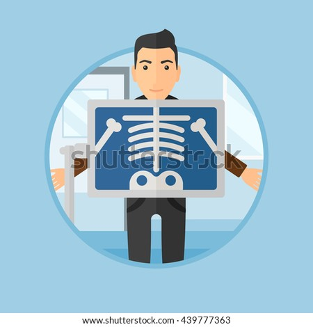 Patient during chest x ray procedure in examination room. Young man with x ray screen showing his skeleton at doctor office. Vector flat design illustration in the circle isolated on background. - stock vector