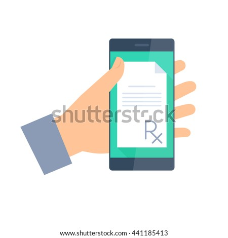 Patient gets prescription by phone. Telemedicine and telehealth flat concept illustration. Human hand holding a smartphone with rx prescription on a display. Vector element for medical infographic. - stock vector