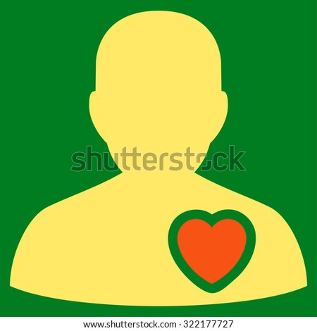 Patient Heart vector icon. Style is bicolor flat symbol, orange and yellow colors, rounded angles, green background. - stock vector