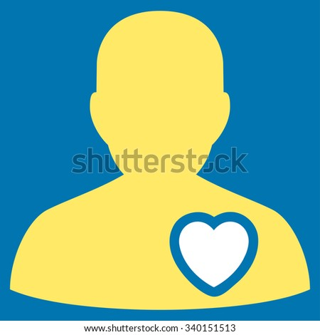 Patient Heart vector icon. Style is bicolor flat symbol, yellow and white colors, rounded angles, blue background. - stock vector