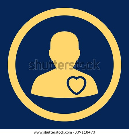 Patient Heart vector icon. Style is flat rounded symbol, yellow color, rounded angles, blue background. - stock vector