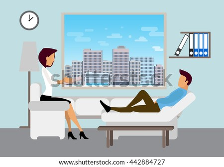 Patient talking to psychologist. Psychotherapy counseling. Dealing with stress and addiction. Flat style modern vector illustration. Flat style modern vector illustration. - stock vector