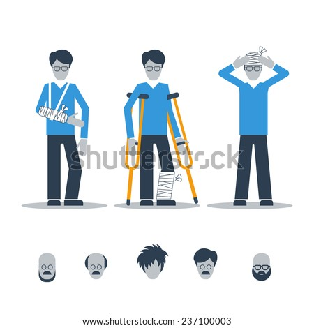 patients with bandages - stock vector
