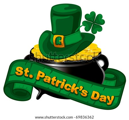 Patrick day background with gold coins and leprechaun hat - stock vector