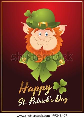 Patrick�s Day Leprechaun Card - stock vector