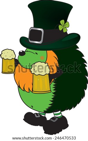 Patrick The Hedgehog.funny looking hedgehog.St. Patrick's day illustration isolated on white background - stock vector