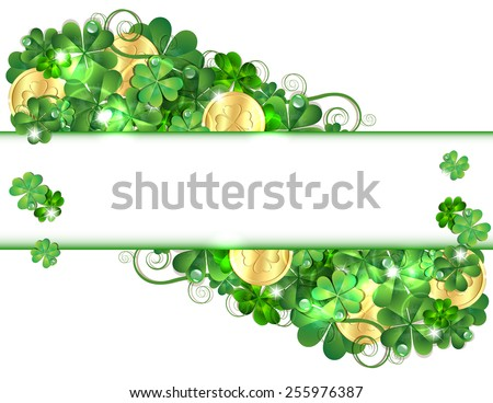 Patricks Day card with clovers and golden coins. Vector illustration - stock vector