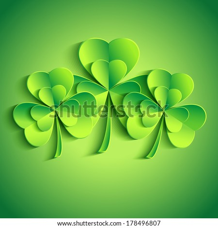 Patricks day card with stylized 3d leaf clover. Trendy Patricks day background with three green leaf clover. Modern bright floral background. Vector illustration  - stock vector
