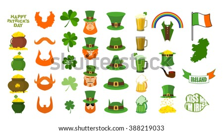 Patricks day. Set of icons. Red Beard and pipe. Leprechaun in Green Hat. Pot of gold. Shamrock and clover. Mug of beer and glass of green ALE. Magic rainbow. Flag and map of Ireland. 17 March