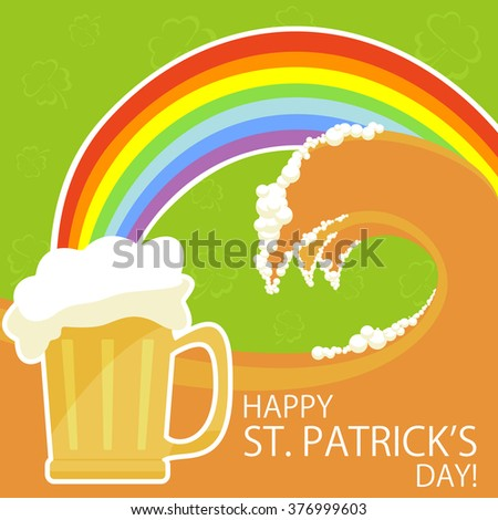 Patricks day theme with beer and rainbow, illustration - stock vector