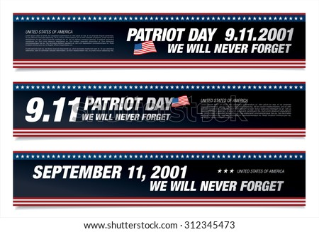 Patriot Day. September 11. We will never forget - stock vector
