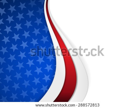 Patriotic background with wavy pattern and space for your text.Stars on dark blue background with wavy stripes in red and white make it a great backdrop for USA themes, like Independent Day, etc. - stock vector
