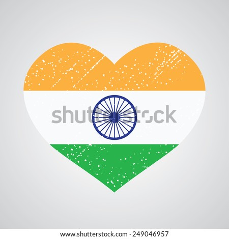 Patriotic emblem of india in the shape of a heart - stock vector