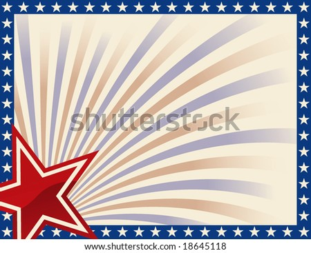 Patriotic Frame with Stars - stock vector