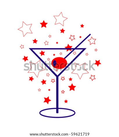 Patriotic Martini - stock vector