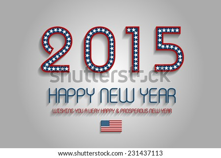 Patriotic New Year 2015 Text Design - stock vector