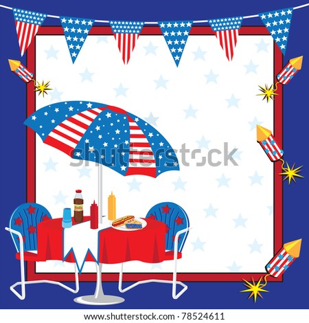 Patriotic Picnic Invitation - stock vector