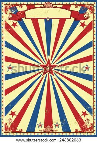 Patriotic retro sunbeams background. A vintage and retro grunge background for a patriotic poster - stock vector