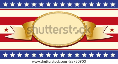 Patriotic sign. Patriotic sign on a flag. - stock vector