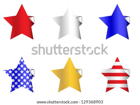 Patriotic Star Stickers - stock vector