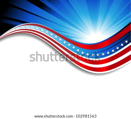 Patriotic wave background - stock vector