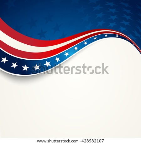 Patriotic wave background. USA flag. Independence Day banner. - stock vector