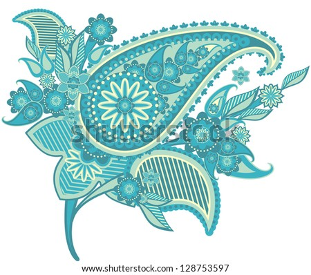 pattern based on traditional Asian elements Paisley - stock vector