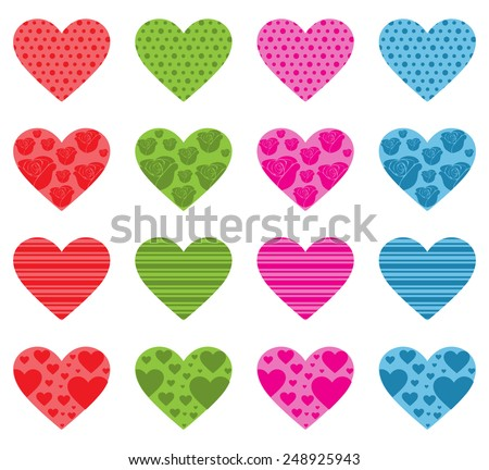 Pattern Filled Hearts - stock vector