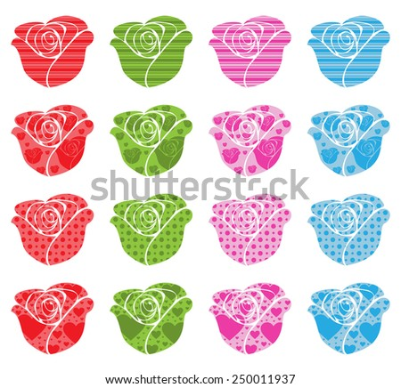 Pattern Filled Roses - stock vector