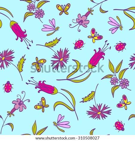 Pattern Flowers Blue - stock vector