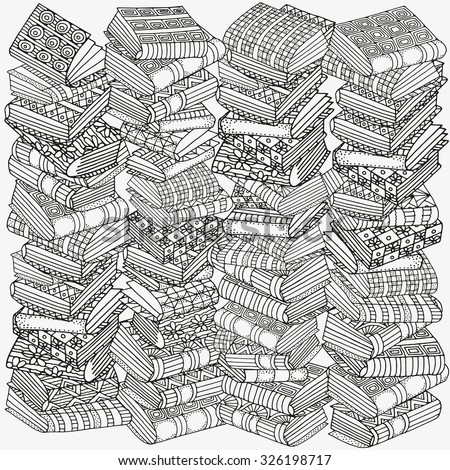 Pattern for coloring book. Artistic books, bookshelf,  hand-drawn decorative elements in vector. Black and white pattern.  Made by trace from sketch. Zentangle. - stock vector