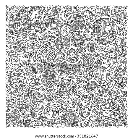 Pattern for coloring book. Christmas hand-drawn decorative elements in vector. Fancy Christmas balls, stars. Pattern for coloring book. Black and white pattern. - stock vector