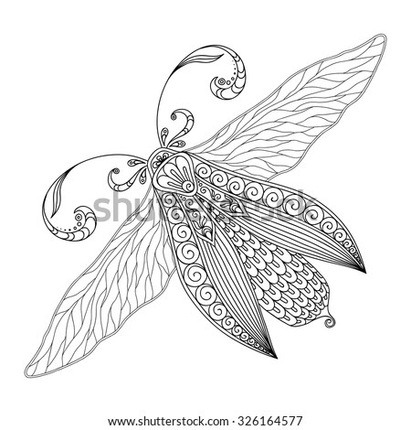 Pattern for coloring book. Henna Mehendi Tattoo Style Doodles butterfly. Design element.. Hand Drawn vector illustration isolated on white background.Coloring book pages for kids and adults. - stock vector