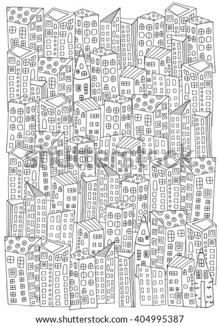 Pattern for coloring book with artistically city houses. Magic City. Street background.  Made by trace from sketch. Ink pen. Zentangle. Black and white pattern in vector. - stock vector