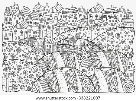 Pattern for coloring book with artistically houses. A4 size. Magic City, fields, landscape.  Made by trace from sketch. Ink pen. Zentangle. Black and white pattern in vector. - stock vector