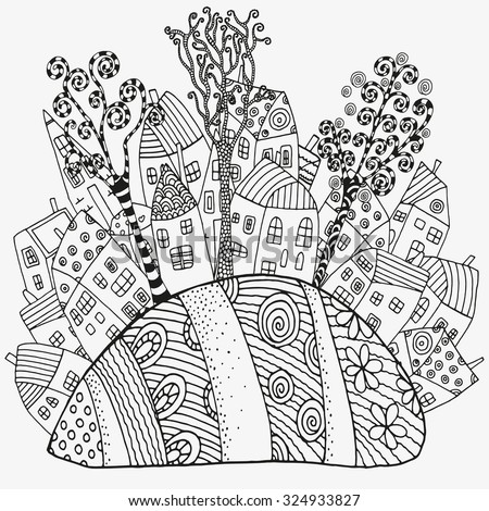 Pattern for coloring book with artistically houses. Magic City, fields, trees, landscape. Made by trace from sketch. Ink pen. Zentangle. Black and white pattern in vector. - stock vector