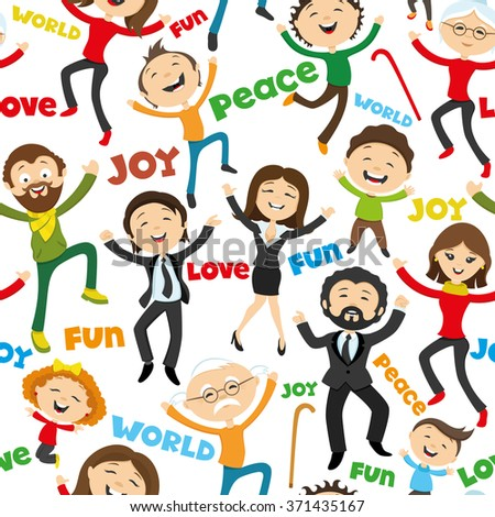 Pattern for seamless background. Happy people jumping. - stock vector