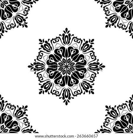 Pattern in the style of baroque. Seamless vector background. Damask texture with orient and floral elements. Black and white colors - stock vector