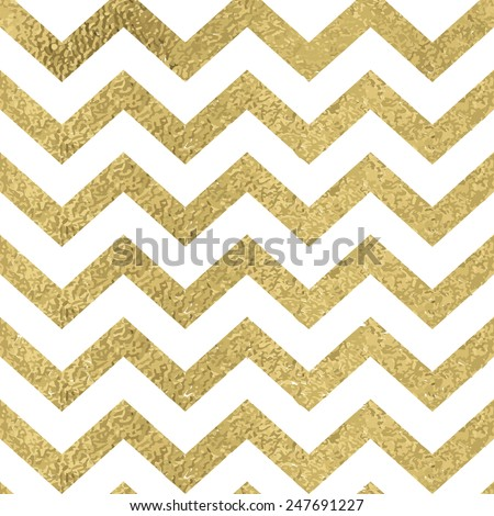 Pattern in zigzag. Classic chevron seamless gold glitter pattern. - stock vector