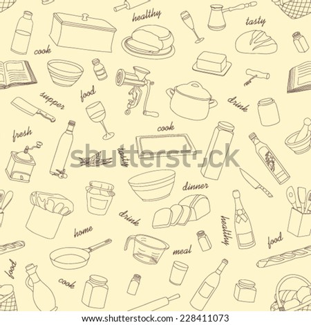 Pattern Kitchen appliances and food seamless background  - stock vector