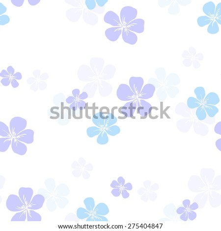 Pattern made from colored hand drawn flowers on the white background. Vector illustration - stock vector
