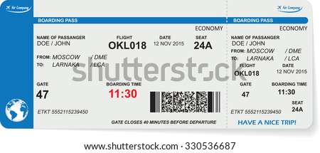 Pattern of airline boarding pass ticket with QR2 code. Concept of travel, journey or business. Isolated on white. Vector illustration - stock vector