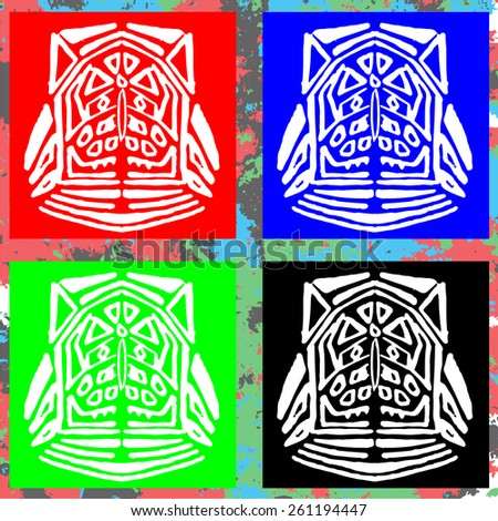 pattern of ancient gods, original red mas, historical background. Incas and Aztecs - stock vector