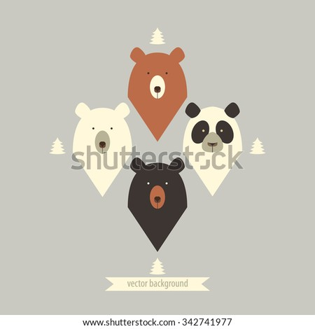 Pattern of bears with fir-tree. - stock vector