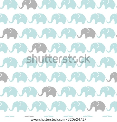 Pattern of blue and grey elephants. Background with elephants. Children's pattern. Background of cute elephants. - stock vector