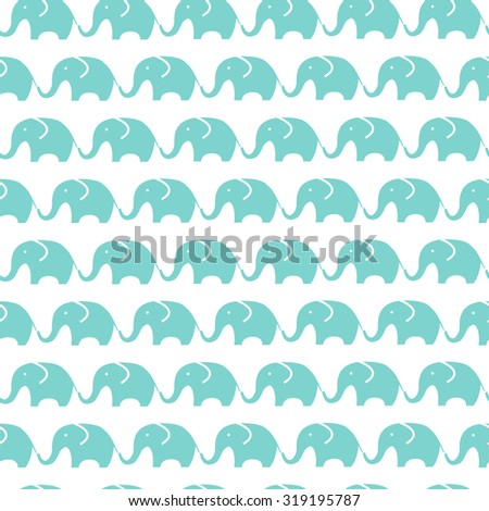 Pattern of blue elephants. Background with elephants. Children's pattern. Background of cute elephants. - stock vector