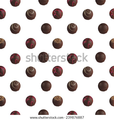pattern of chocolate candies on a white background - stock vector