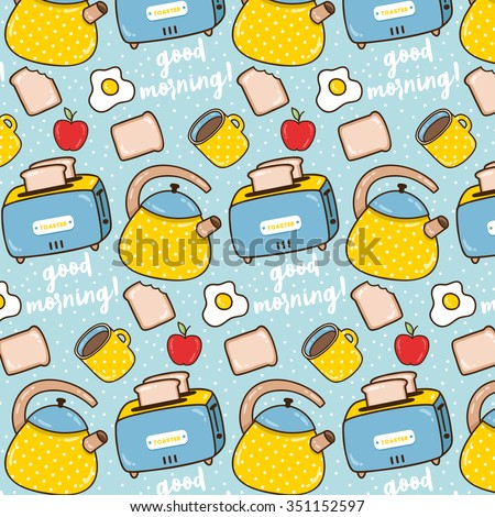 pattern of cute kitchen teapot, toaster, cup with egg, apples and toast on pastel blue background. can be used like pattern for home textile - stock vector