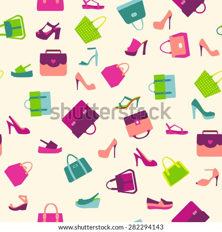 Pattern  of  fashion Women bags handbags and summer shoes - stock vector